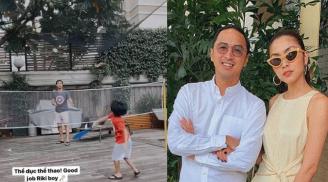 Hà Tăng khoe khoảnh khắc con trai chơi thể thao cực giỏi cùng bố Louis Nguyễn